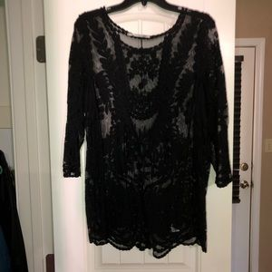 Maurice's Crochet/Lace 3/4 sleeve Blouse size 0